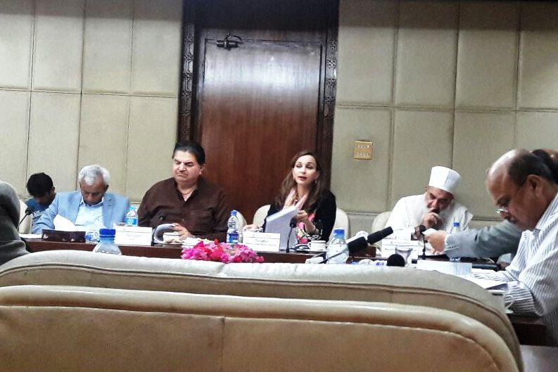 """Senator Sherry Rehman presenting """"The People (amendment) Bill, 2016"""" in Standing Committee on Parliamentary Affairs"""